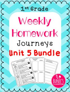 Journeys Homework Unit 5 Bundle- First Grade