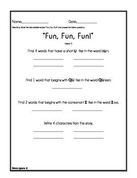Journeys - Houghton Mifflin - Decodable Reader Activities - Lessons 1 -5