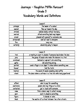 Journeys - HMH © 2011/2012 Grade 3 Vocabulary Words and Definitions