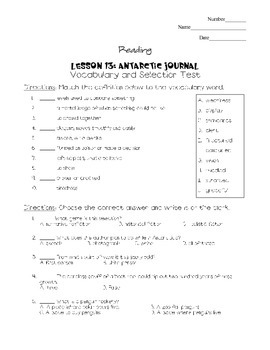 Journeys - HMH © 2011/2012 Grade 4 Lesson 13 Vocabulary/Selection Test