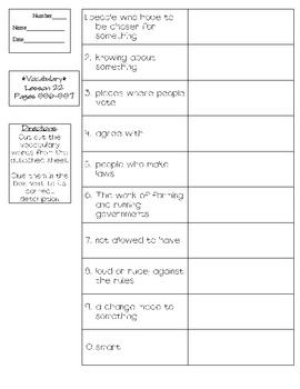 Journeys - HMH © 2011/2012 Grade 4 Lesson 22 Vocabulary Practice