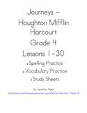 Journeys - HMH © 2011/2012 Grade 4 Vocabulary, Spelling, & Study Sheets