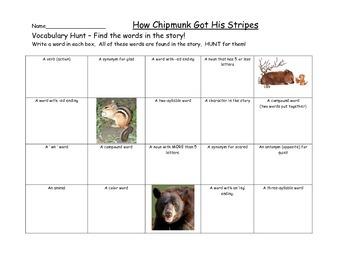 Journeys How Chipmunk Got His Stripes Vocabulary Hunt