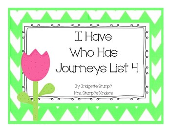 Journeys I Have, Who Has game (Fourth Set of 15 Words Taught)