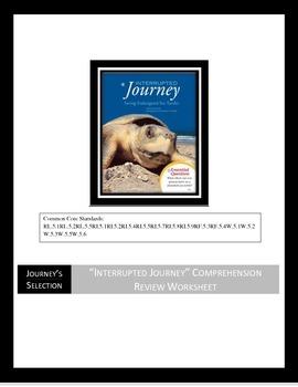 "Journey's ""Interrupted Journey"" Comprehension & Vocabulary Worksheet"