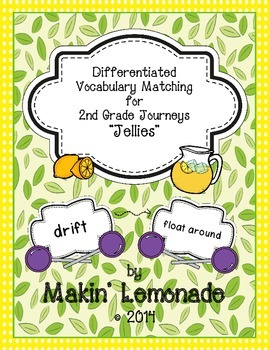 """Journeys: """"Jellies"""" Differentiated Vocabulary Match Game"""