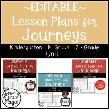 Journeys Kindergarten, 1st, and 2nd Grade UNIT 1 EDITABLE BUNDLE