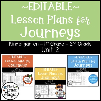Journeys Kindergarten, 1st, and 2nd Grade UNIT 2 EDITABLE BUNDLE