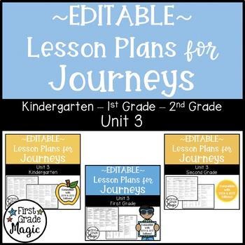 Journeys Kindergarten, 1st, and 2nd Grade UNIT 3 EDITABLE BUNDLE