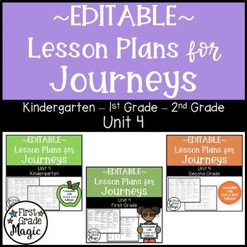 Journeys Kindergarten, 1st, and 2nd Grade UNIT 4 EDITABLE BUNDLE