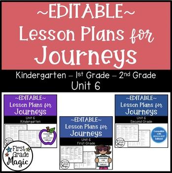 Journeys Kindergarten, 1st, and 2nd Grade UNIT 6 EDITABLE BUNDLE