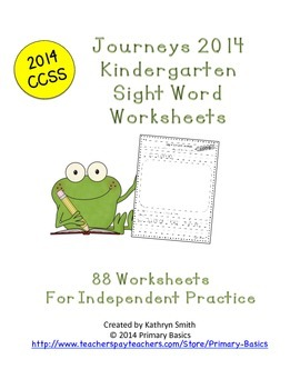 Journeys Kindergarten 2014 CCSS Worksheets