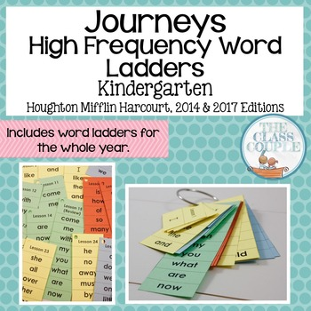 Journeys Kindergarten Grade High Frequency Word Ladders (Full Year)