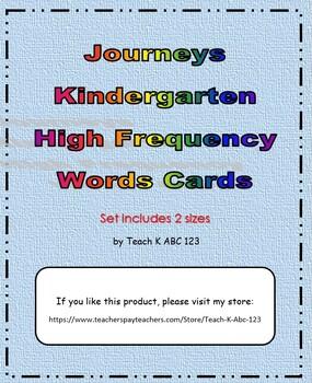 Journeys Kindergarten High Frequency Word Cards