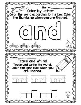 Kindergarten  High Frequency Word Practice - Journeys Unit 2