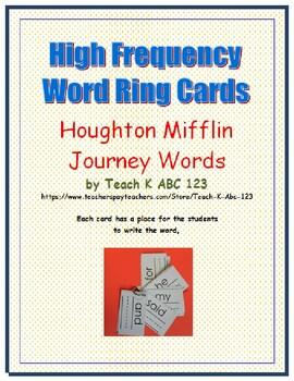 Journeys Kindergarten High Frequency Word Ring Cards