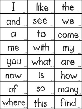 Journeys Kindergarten High Frequency Word Wall Cards