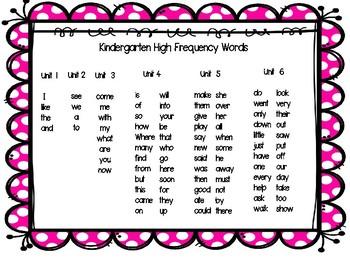 Journeys Kindergarten High Frequency Words Pack