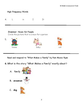 "Journeys Kindergarten Lesson 1 ""What Makes a Family"" Assessment"