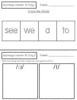 Journeys Kindergarten Lesson 10 Homework & Classwork