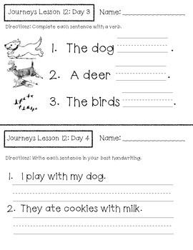 Journeys Kindergarten Lesson 12 Homework & Classwork