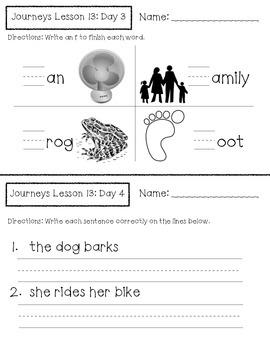 Journeys Kindergarten Lesson 13 Homework & Classwork