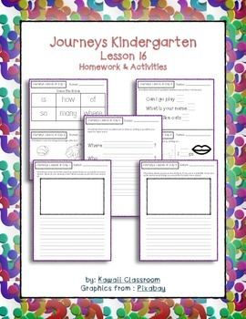 Journeys Kindergarten Lesson 16 Homework & Classwork