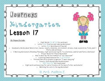 Journeys Kindergarten Lesson 17 Morning Work, Vocabulary, and Comprehension
