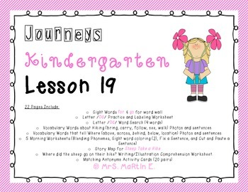 Journeys Kindergarten Lesson 19 Morning Work, Vocabulary,