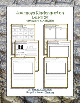 Journeys Kindergarten Lesson 20 Homework & Classwork