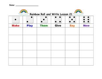 Journeys Kindergarten Lesson 21-29 Sight Words Roll and Write