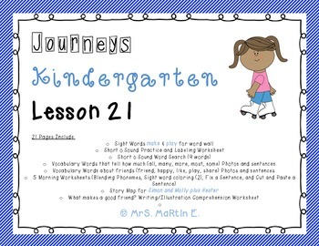 Journeys Kindergarten Lesson 21 Morning Work, Vocabulary, and Comprehension