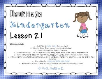 Journeys Kindergarten Lesson 21 Morning Work, Vocabulary,