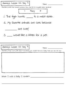 Journeys Kindergarten Lesson 22 Homework