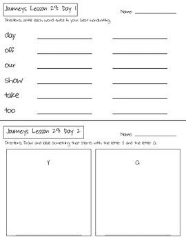 Journeys Kindergarten Lesson 29 Homework