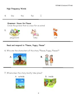 "Journeys Kindergarten Lesson 3 ""Please, Puppy, Please"" Assessment"