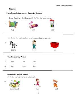 """Journeys Kindergarten Lesson 4 """"Everybody Works"""" Assessment"""