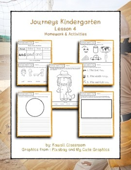 Journeys Kindergarten Lesson 4 Homework