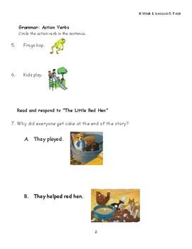 """Journeys Kindergarten Lesson 5 """"Little Red Hen"""" Assessment"""