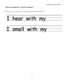 "Journeys Kindergarten Lesson 6 ""My Five Senses"" Assessment"