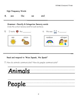 "Journeys Kindergarten Lesson 7 ""Mice Squeak, We Speak"" Assessment"