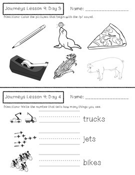 Journeys Kindergarten Lesson 9 Homework & Classwork