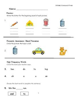 """Journeys Kindergarten Lesson 9 """"Wheels"""" Assessment"""