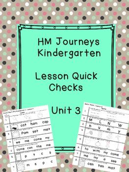 Journeys Kindergarten Quick Checks- Unit 3