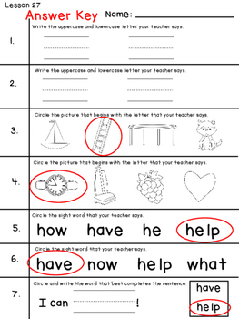 Journeys Kindergarten Quick Checks- Unit 6