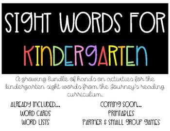Journeys Kindergarten Sight Word Lists