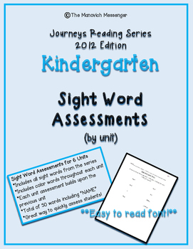 Journeys Kindergarten Sight Word Quick Check Assessments