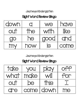 Journeys Kindergarten Sight Word Review Bingo
