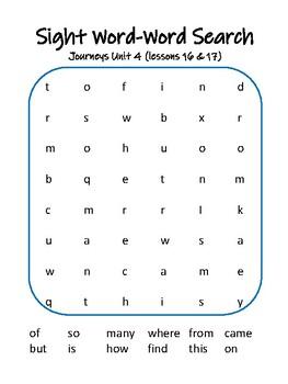 Journeys Kindergarten Sight Word Word Search Units 1-6