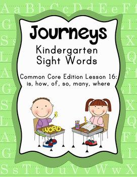 Journeys Kindergarten Sight Words: Lesson 16 Common Core Edition